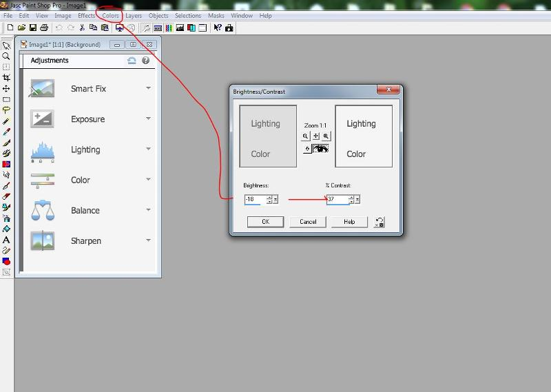 adjust colours in PSP pro