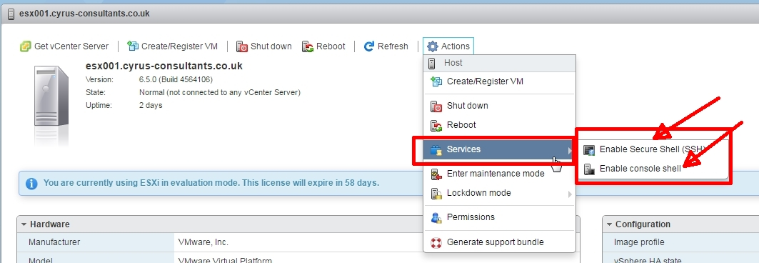 HOW TO: Enable SSH Remote Access on a VMware vSphere