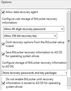 Saving BitLocker key to AD DS