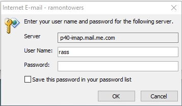 email pop-up password p40-imap mail me com when opening MS