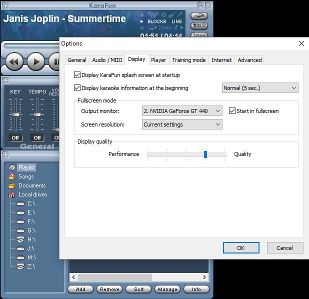 KaraFun Options Start in fullscreen