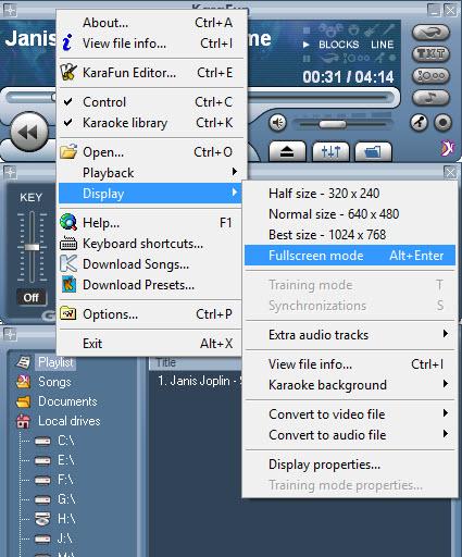 KaraFun Display Fullscreen mode