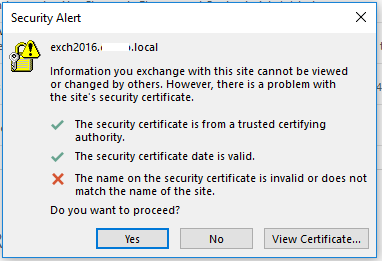 Certificate Error When Opening Outlook 2016