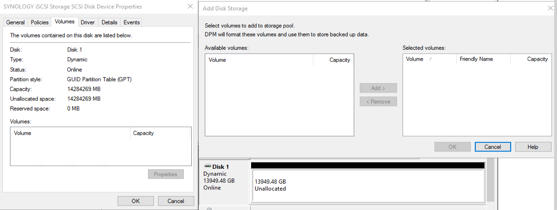 DPM 2016 can't see iSCSI disk