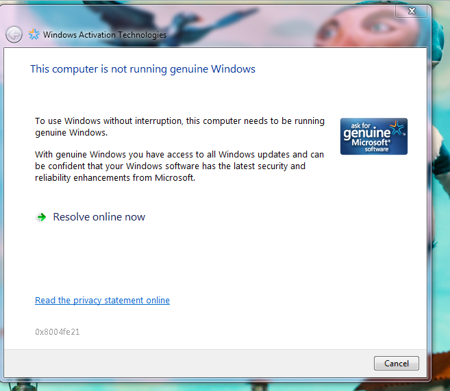 Not-running-geniune-Window