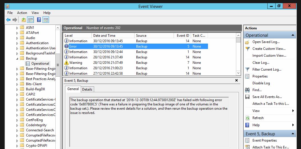 Windows Server Backup failure \u0027The process cannot access the file