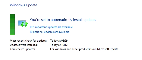 Windows 8.1 - 197+10 updates available (1GB of updates)