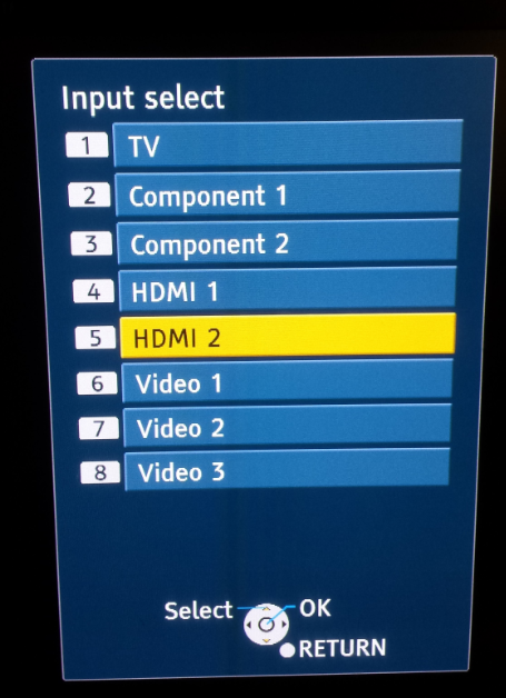 Input Select (From Remote Control)