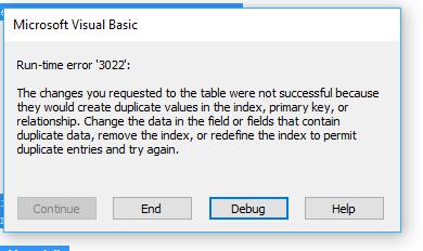 error 3022 in access vba