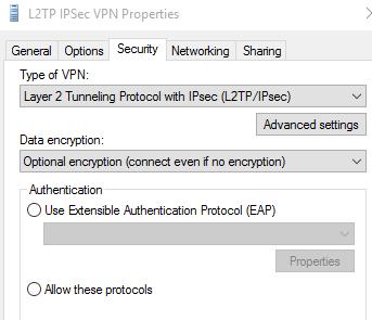 L2TP VPN in Windows 10