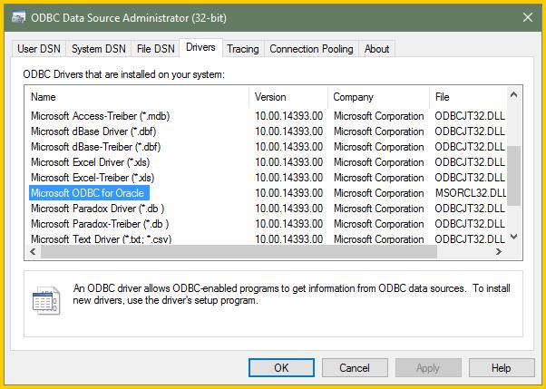 ODBC in excel 2016 in Windows 10 via VBA