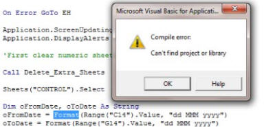 Excel VBA Format error - Compile Error  Can't find object or