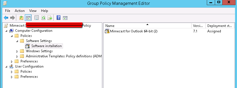 Issue with using GPO to install Mimecast in Outlook