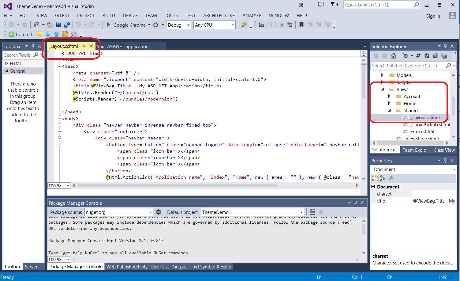 Add Theme to ASP NET MVC