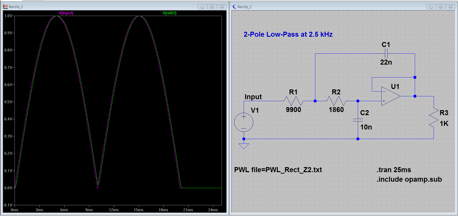 Smoothing A Rectified Sine Wave Dds Rectifier With Capacitor Filter Public Circuit Online 2 Poles At 25 Khz