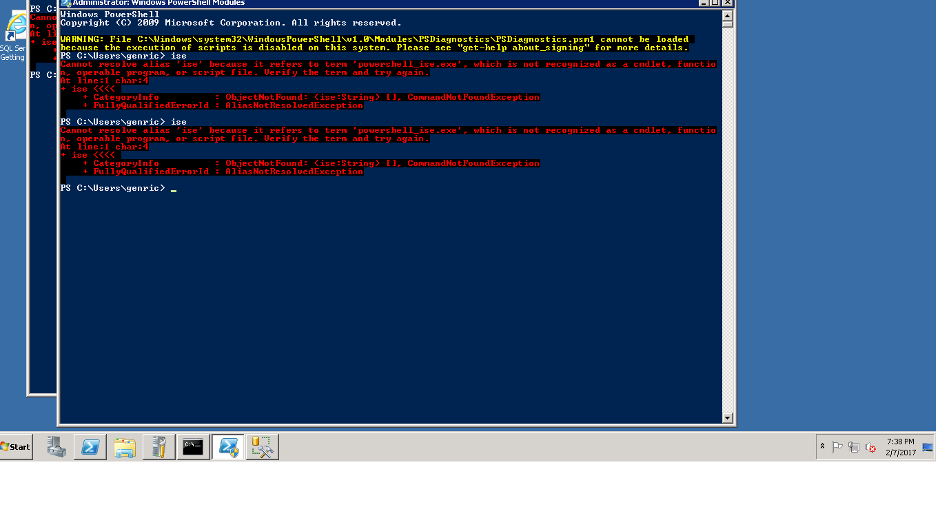 SOLUTION] powershell ISE is not working where as Poweshell