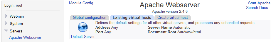 Apache not showing as started in Webmin on CentOS