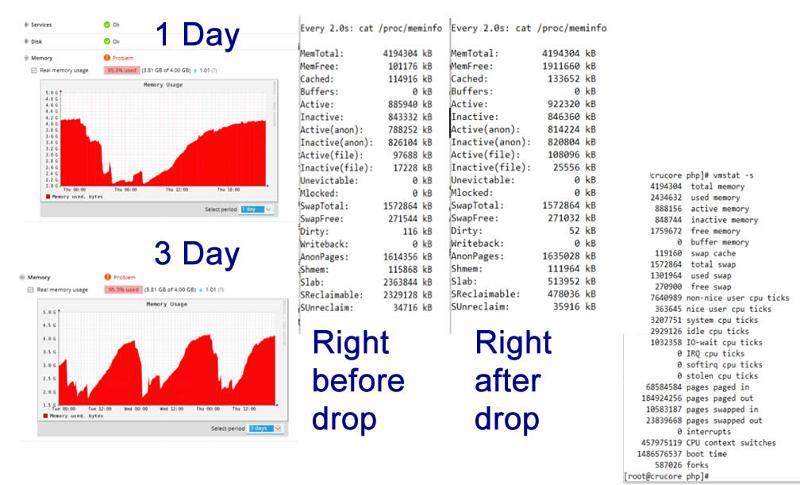Graphs showing memory increase plus memory dumps