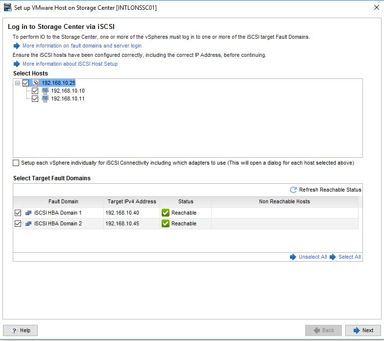Issues connecting Dell SCV2020i to VMWARE
