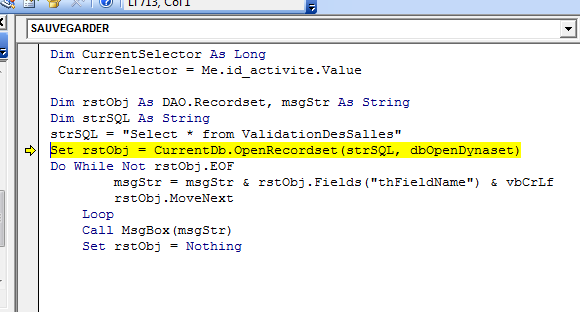 I get Run-time error '3061'  Too few parameters  Expected 9