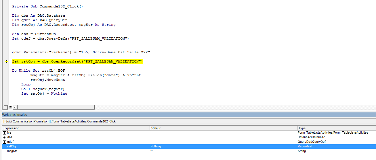 Setting a recordset out of a parameter query