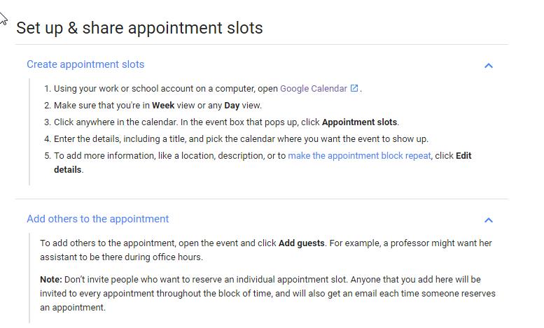 Procedures from Google.
