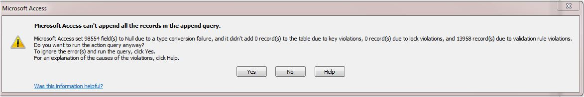I am trying to use append query in access and its not working