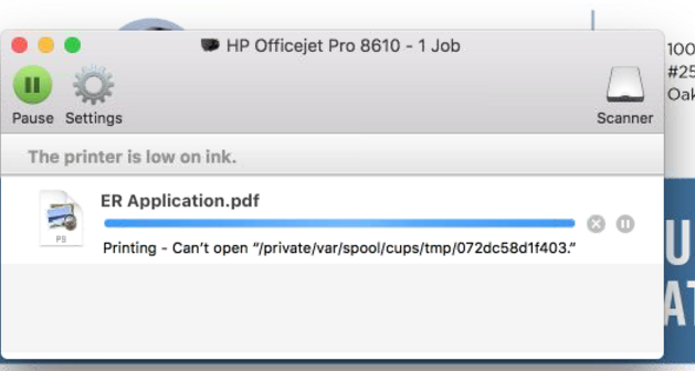 Unable to print PDF document on Mac laptop