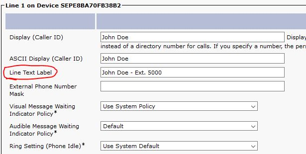 Change name on 7940 Cisco UM