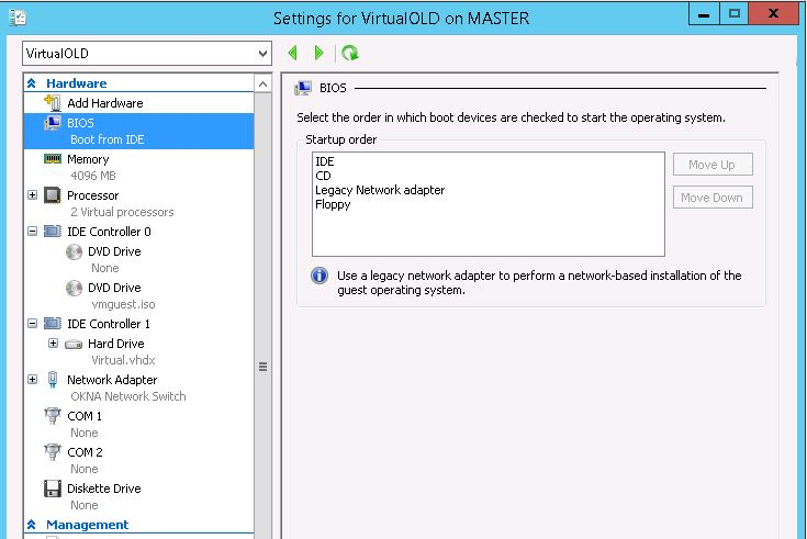 Windows server converted P2V through DISK2VHD not working