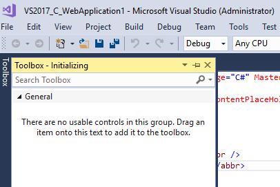 Visual Studio 2017 error - Toolbox not loaded