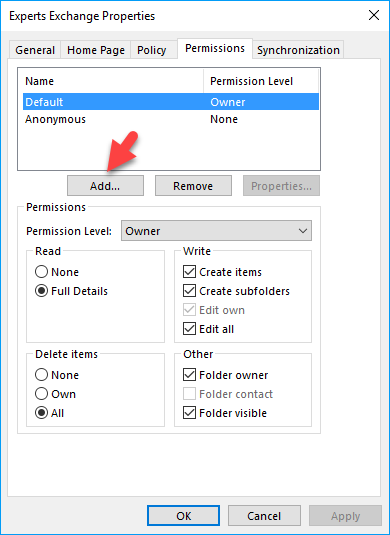 outlook permissions