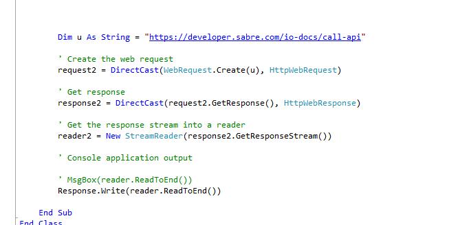 call sabre API from vb net