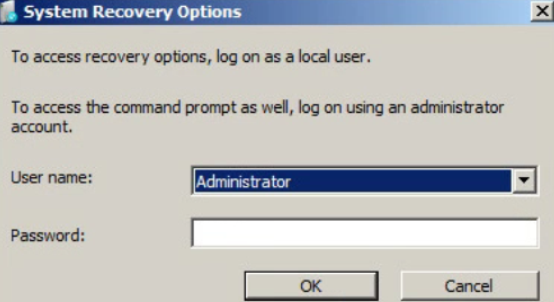 System Recovery Logon