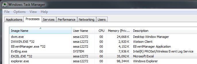taskmgr of stuck Excel.exe