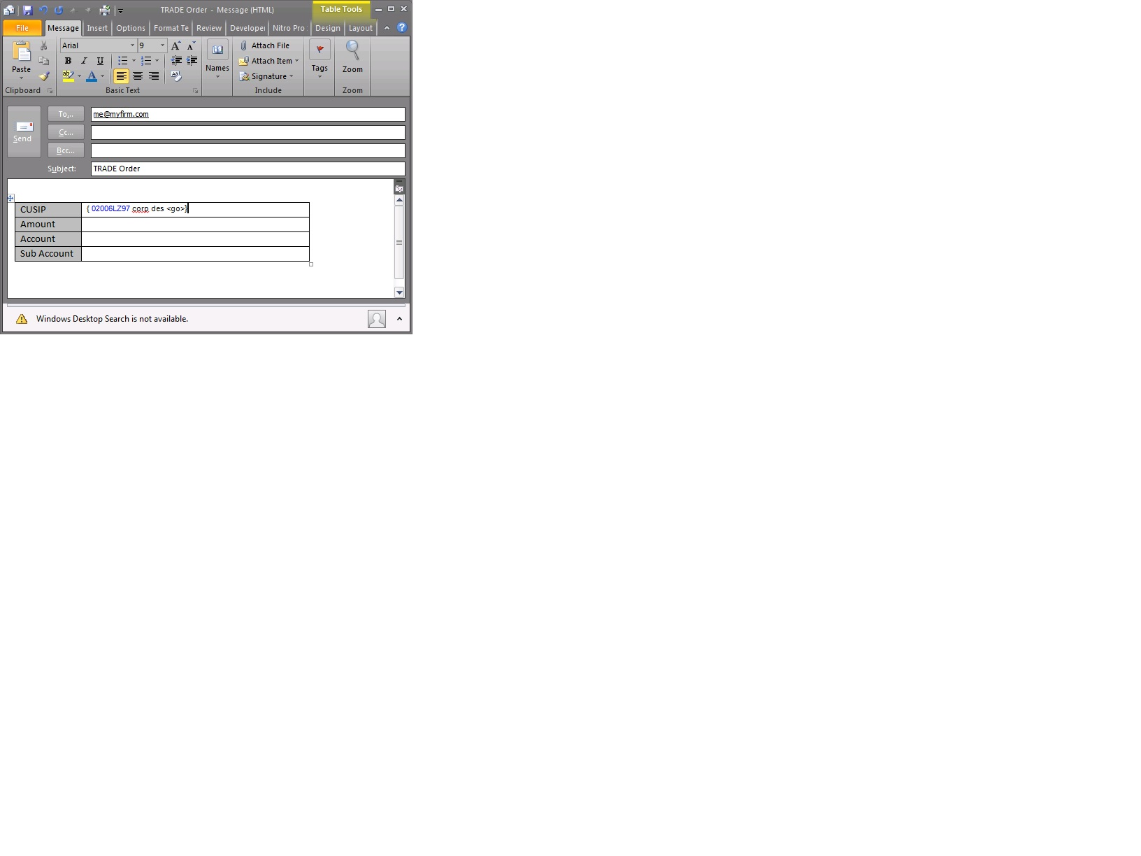 Excel hyperlinks - add custom and dynamic text to email body