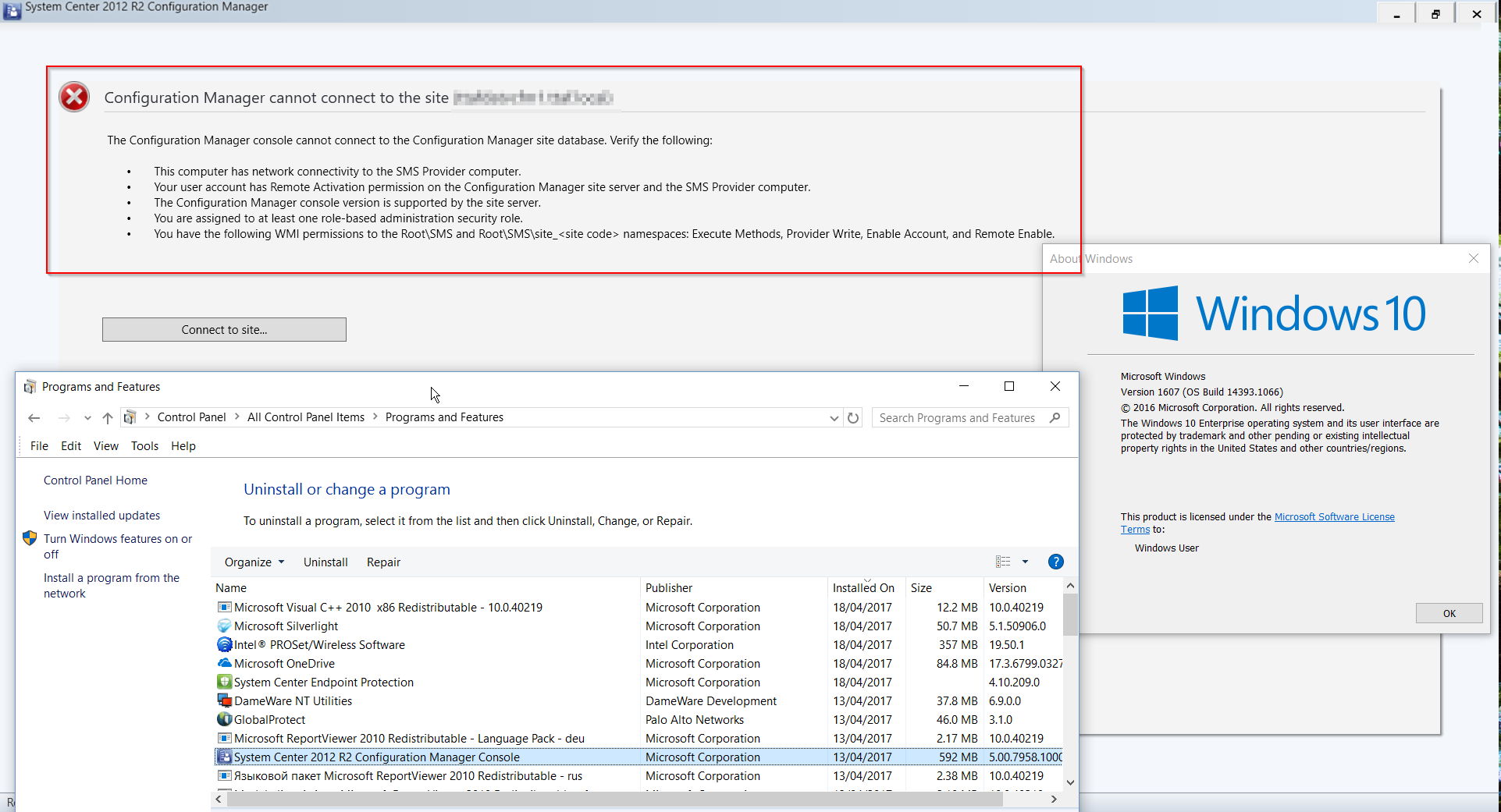 Cannot To Sccm Site Windows 10