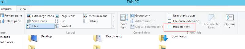 "File explorer, ""Hidden Items"""