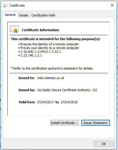 Trouble importing SSL Certificate from GoDaddy for Exchange 2013