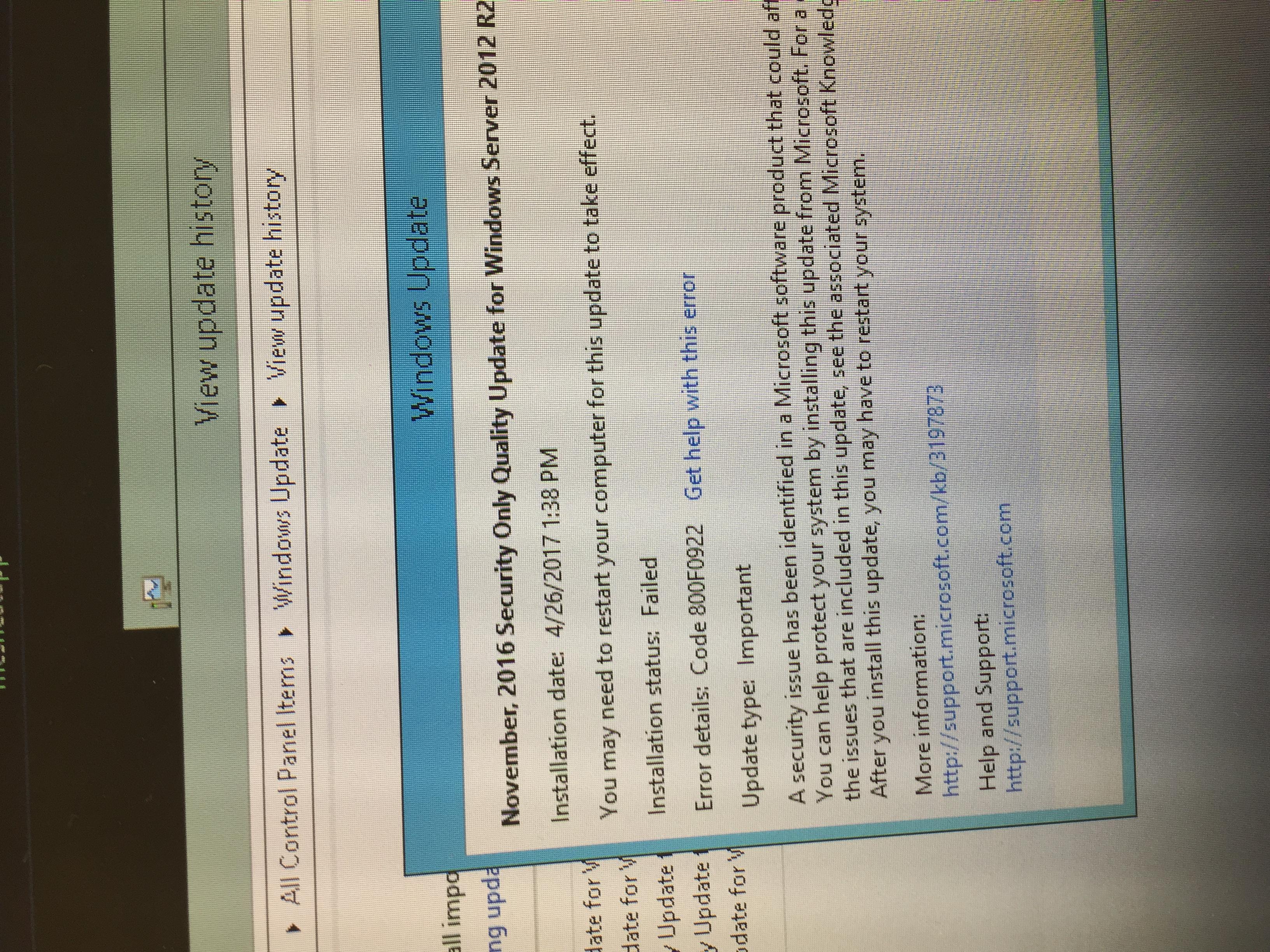 Windows updates keep failing on windows server 2012 r2