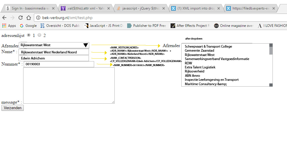 Form xml in javascript