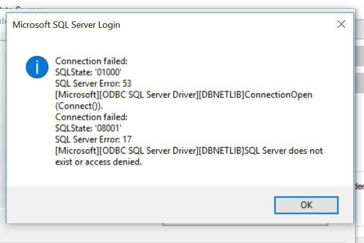connection to SQL 2012 error in windows 10