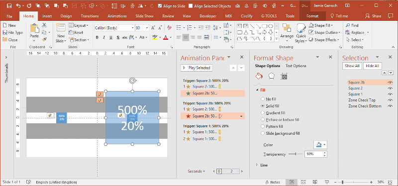 PowerPoint Grow/Shrink behaviour screenshot