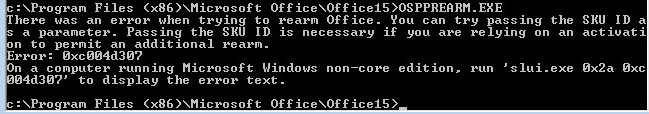 Error 0xc004d307 When Rearming Office 2013 for KMS