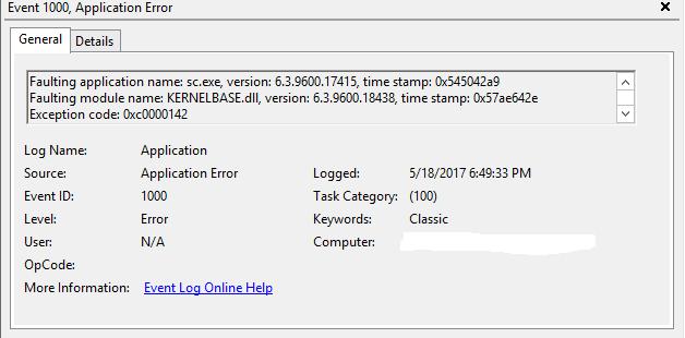 Windows Server 2012 R2 Standard non-interactive tasks crashing with