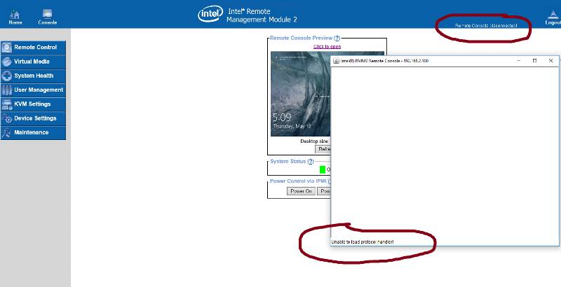 Intel RMM2 - Remote management Console not working.