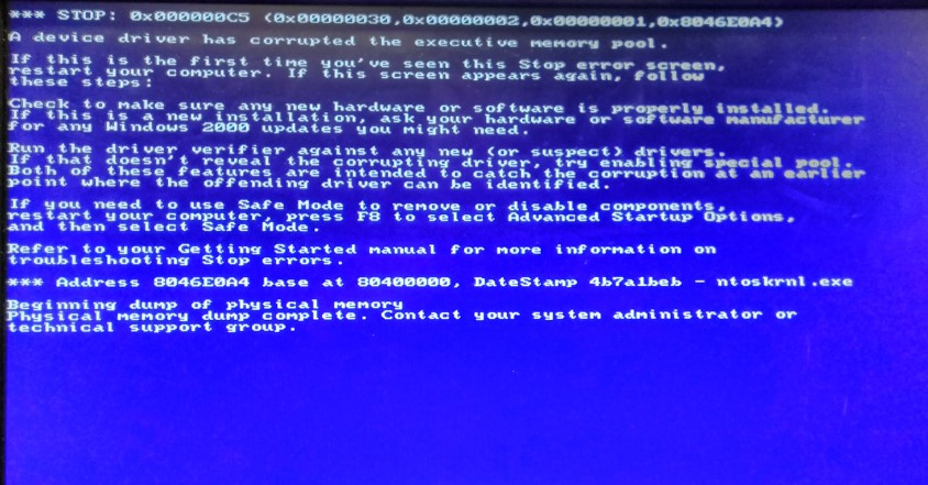 WIndows Server 2000 Error