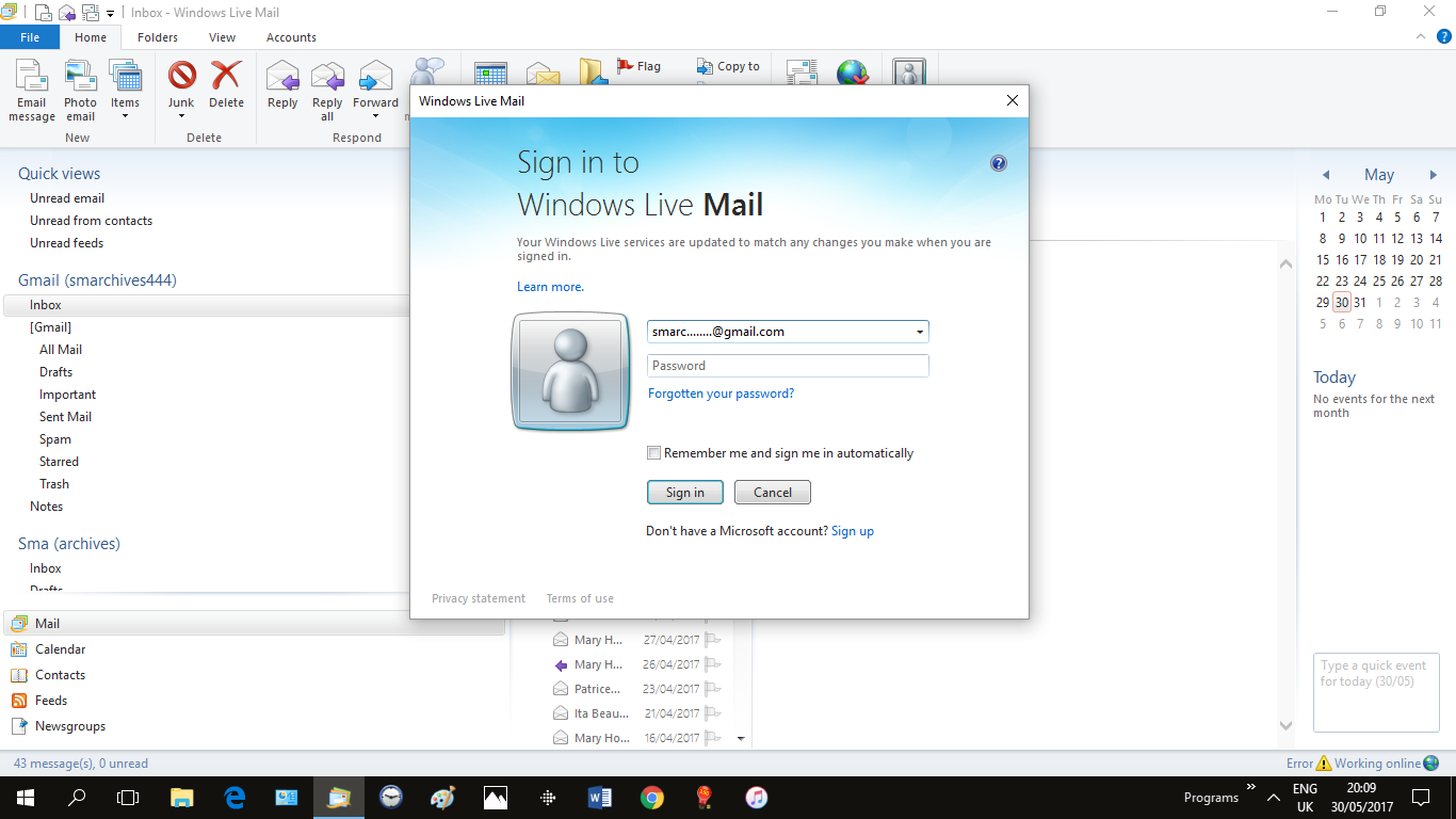 how to make sign in to windows live mail automatic