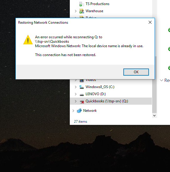 Error on users PC.
