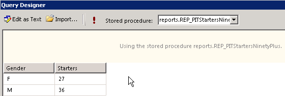 Output from Query Designer